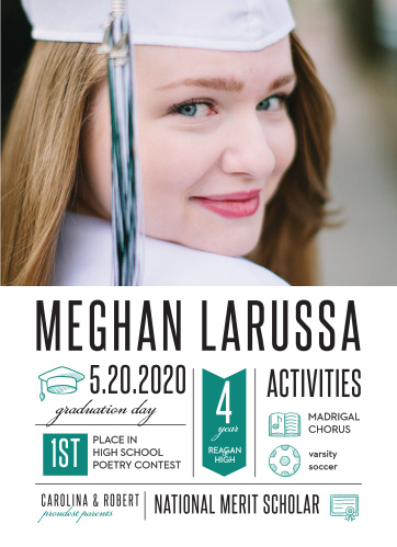 Share your high school accomplishments with family and friends using the Achievement Infographics Graduation Announcements.
