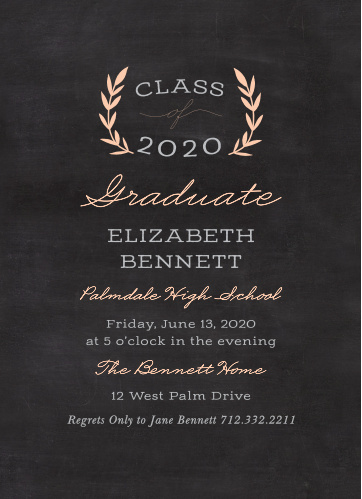 Create classic announcements featuring a chalkboard background with the Laurel Leaves Graduation Invitations.