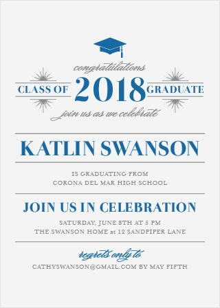 Invite friends and family to attend and celebrate your upcoming ceremony with the Posh Celebration Graduation Invitations.