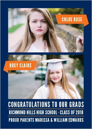 Create an announcement for not one but two grads with the Two of A Kind Graduation Announcements.