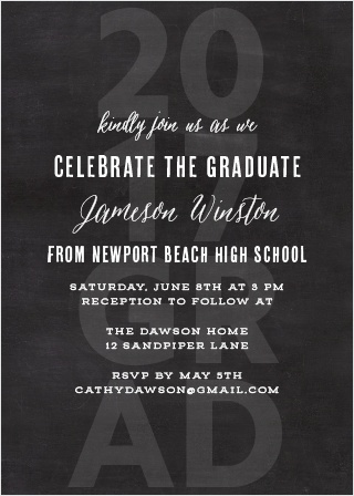 "A watermark saying ""2017 Grad"" Create a fun background for the Chalkboard Grad Graduation Invitations."