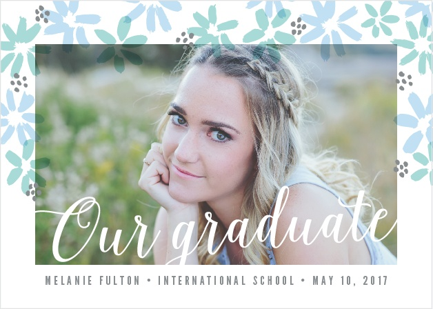 Painterly flowers create a whimsical border around your favorite grad shot on the Doodle Florals Graduation Announcements.
