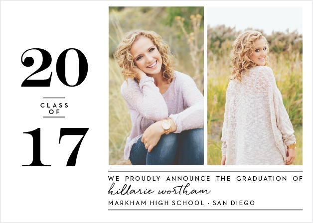 Add two of your best shots from your graduation photo shoot to the Style Blog Graduation Announcements.