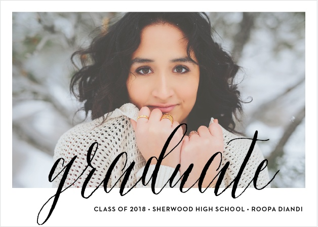 Send sophisticated announcements for your upcoming ceremony with the Script Window Graduation Announcements.