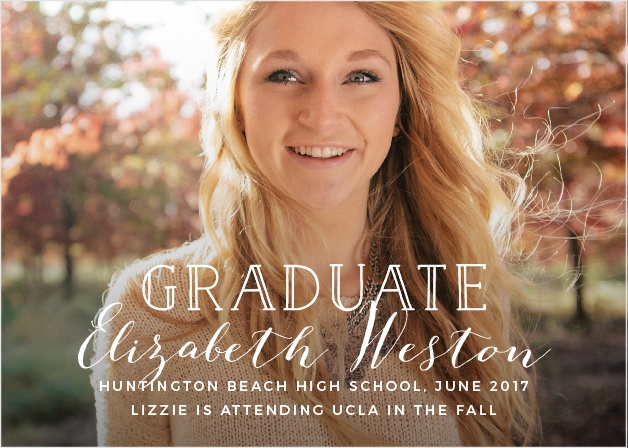 Use your favorite grad shot as the background to the Overlay Script Graduation Announcements.