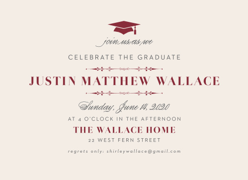 Cordially invite guests to celebrate your accomplishment with the Formal Party Graduation Invitations.