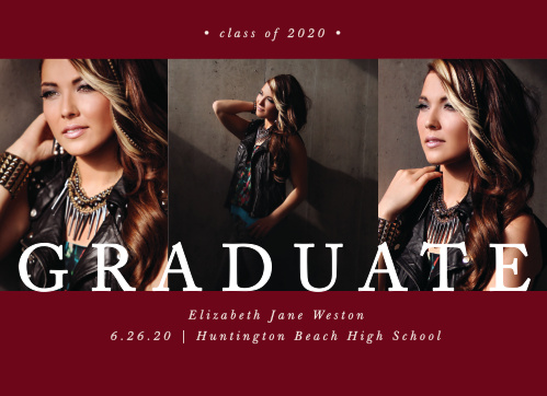 "The word ""Graduate"" is written across three of your best grad shots on the Dazzling Trio Graduation Announcements."