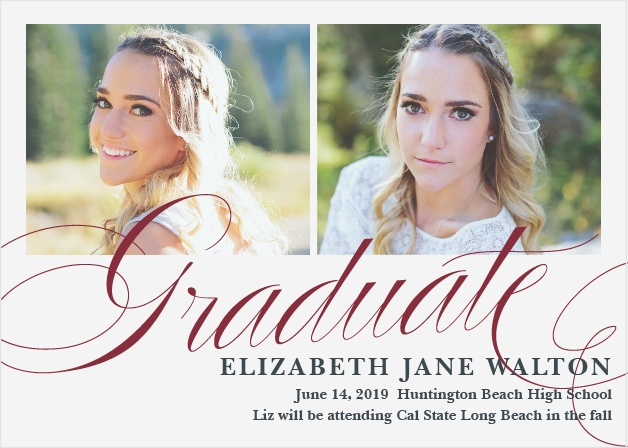 Announce your upcoming ceremony with the elegant design of the Luxe Script Graduation Announcements.