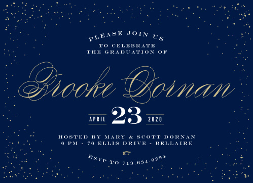 A scattering of dots frames your text on the Starry Night Graduation Announcements.