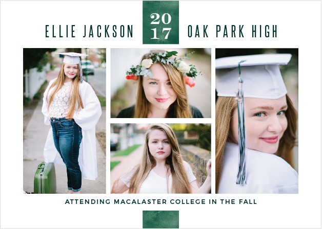 Customize the Emerald Class Graduation Announcements with four of your best grad shots