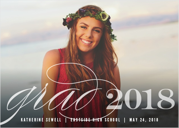 Choose your best grad shot for the background of the Big Script Graduation Announcements.