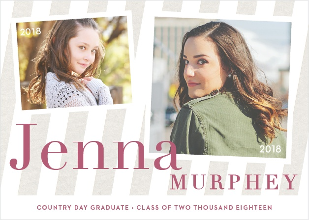 Compare a photo from your childhood with one of your grad shots using the Striped Snapshots Graduation Announcements.
