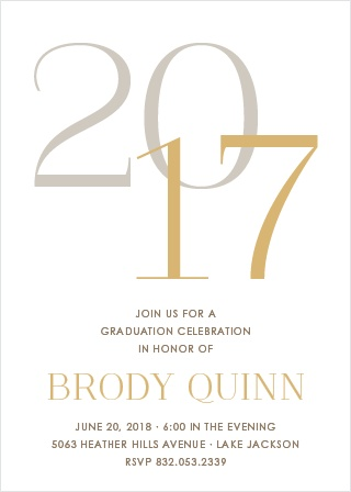The numbers of your grad year overlap on the Stacked Year Foil Graduation Invitations.