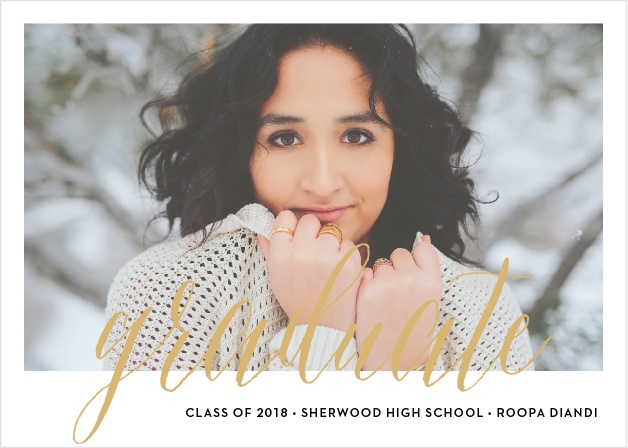 Send sophisticated announcements for your upcoming ceremony with the Script Window Foil Graduation Announcements.