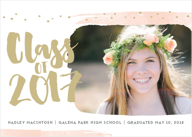 Effervescent strokes and dots frame the Painted Swoosh Graduation Announcements.