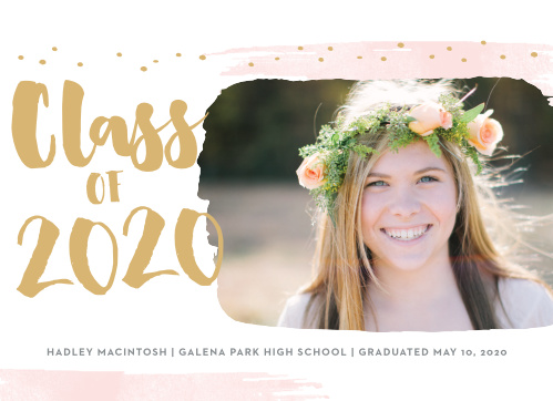 Effervescent strokes and dots frame the Painted Swoosh Foil Graduation Announcements.