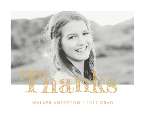 Share your thanks with the contemporary sophistication of the Modern Calligraphy Foil Graduation Announcements.