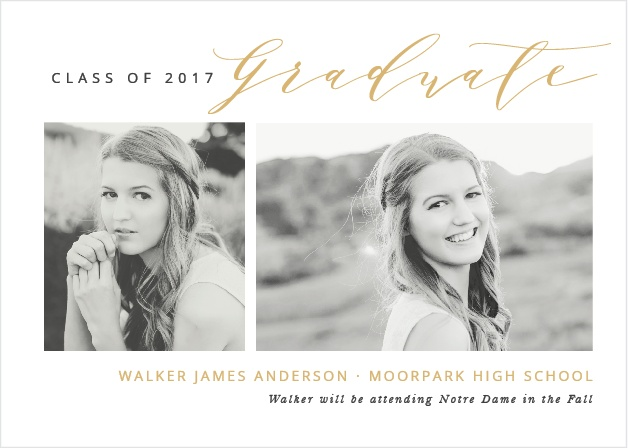 Send announcements with the contemporary sophistication of the Modern Calligraphy Foil Graduation Announcements.