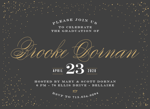 A scattering of dots frames your text on the Starry Night Foil Graduation Announcements.