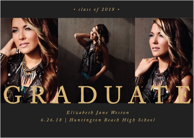 "The word ""Graduate"" is written across three of your best grad shots on the Dazzling Trio Foil Graduation Invitations."