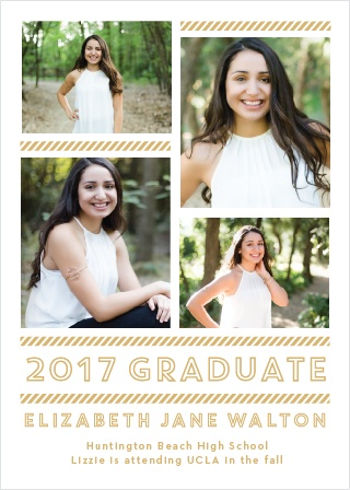 Personalize your announcements with a spread of four grad shots on the Staggered Snapshots Foil Graduation Announcements.