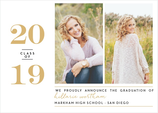 Add two of your best shots from your graduation photo shoot to the Style Blog Foil Graduation Announcements.