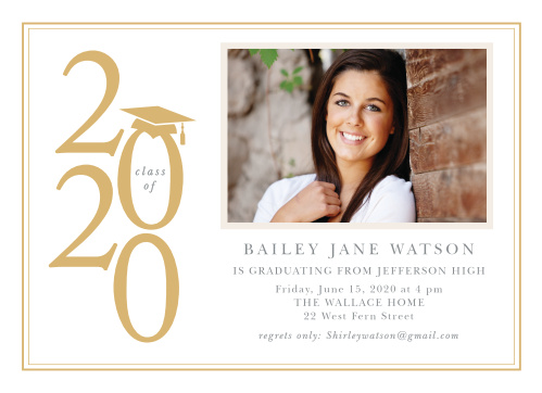 Create classic announcements for your graduation ceremony using the Top of the Class Foil Graduation Announcements.