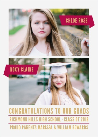 Create an announcement for not one but two grads with the Two of A Kind Foil Graduation Announcements.