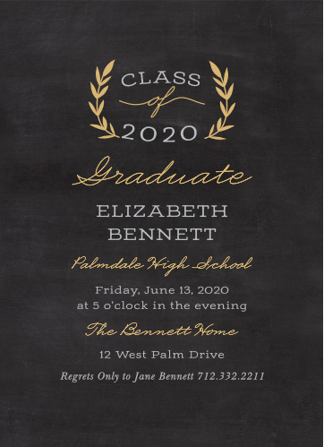 Create classic announcements featuring a chalkboard background with the Laurel Leaves Foil Graduation Invitations.