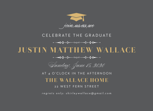 Cordially invite guests to celebrate your accomplishment with the Formal Party Foil Graduation Invitations.