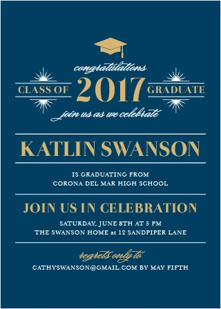Invite friends and family to attend and celebrate your upcoming ceremony with the Posh Celebration Foil Graduation Invitations.