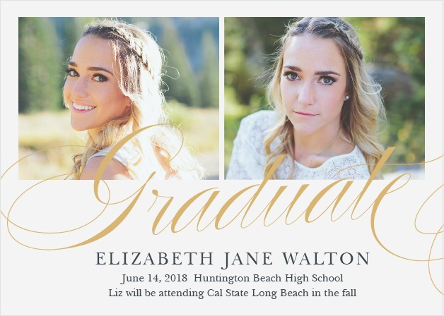 Announce your upcoming ceremony with the elegant design of the Luxe Script Foil Graduation Announcements.