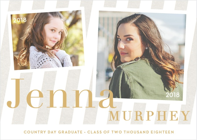 Compare a photo from your childhood with one of your grad shots using the Striped Snapshots Foil Graduation Announcements.
