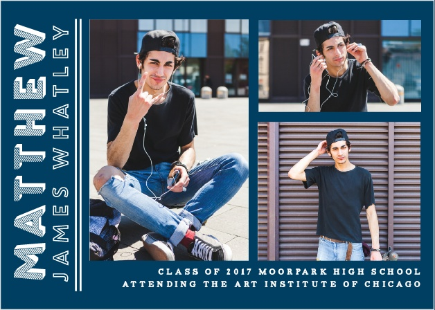 Choose three of your favorite shots from your grad photo shoot for the Pinstriped Pro Graduation Announcements.