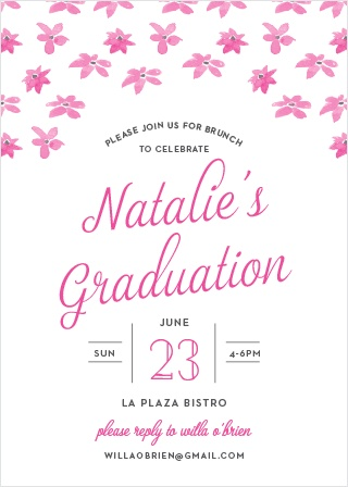 Invite friends and family to celebrate your upcoming ceremony with the Brunch Bouquet Graduation Invitations.