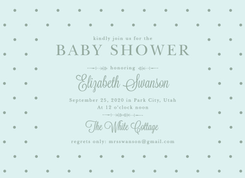 Invite friends and family to celebrate the mother-to-be with the vintage style of the Darling Dots Baby Shower Invitations.