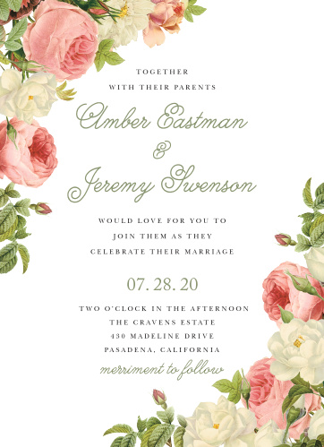 Nestled between two beautiful bouquets of roses that trail down the side of these Alluring Florals Wedding Invitations, each with a unique color and in various states of bloom, is a duo of delightful typefaces.