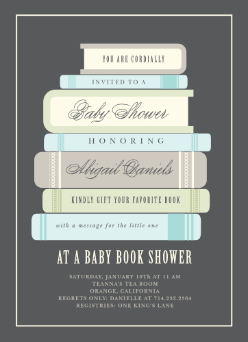 Ask friends and family to shower the mom-to-be with books using the Baby Book Boy Baby Shower Invitations.