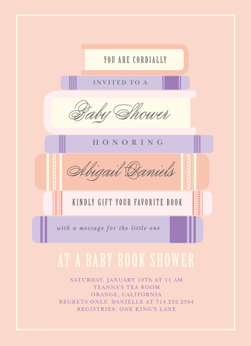 Ask friends and family to shower the mom-to-be with books using the Baby Book Girl Baby Shower Invitations.