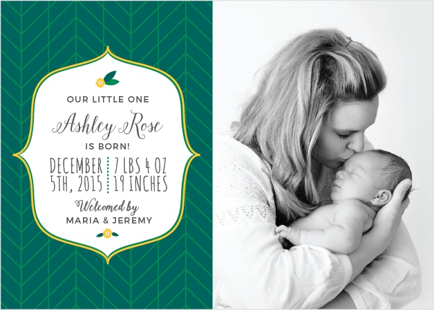 Introduce your new little one with the modern whimsy of the Tiny Leaf Birth Announcements.