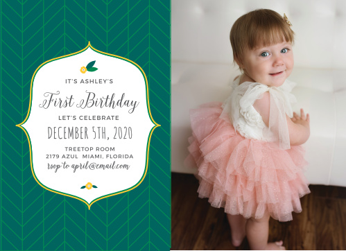 Celebrate your little one's big day with the modern whimsy of the Tiny Leaf First Birthday Invitations.