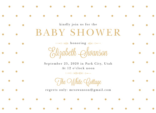 Invite friends and family to celebrate the mother-to-be with the vintage style of the Darling Dots Foil Baby Shower Invitations.