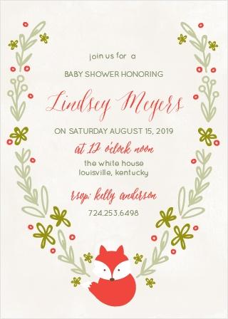 Baby Fox Baby Shower Invitations