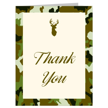 The beautiful stag's head accent on the Camo and Antlers thank you card makes this versatile thank you card something truly special. Choose one of our many camouflage patterns, or if cammo isn't your thing, select one of our many other patterns for a beautiful, and stylish thank you card that will stand out from the rest.