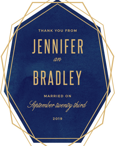 Share your thanks with the cool angles and soft watercolor background of the Divinely Modern Foil Wedding Thank You Cards.