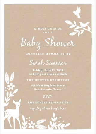 Kraft Woodland Baby Shower Invitations