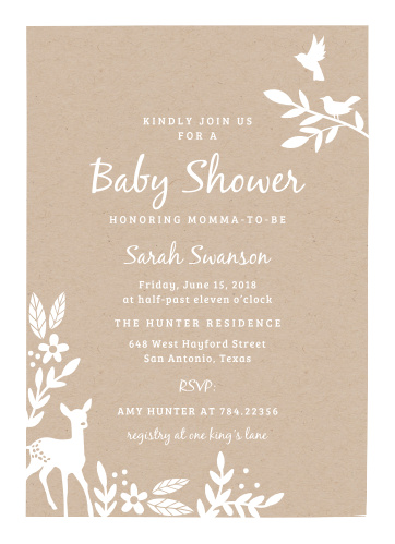 Woodland baby shower invitations match your color style free kraft woodland baby shower invitations filmwisefo