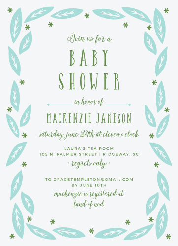 Whimsical foliage and stars frame the Garden Leaves Boy Baby Shower Invitations.