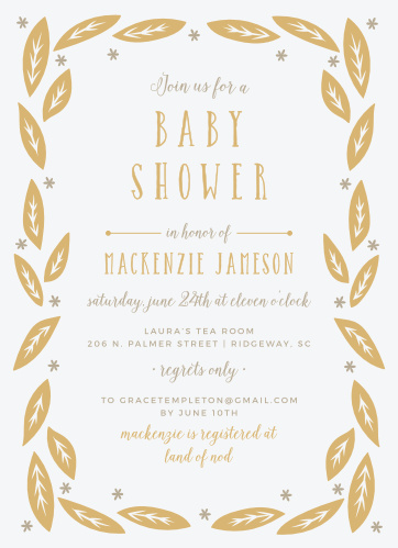 Garden Leaves Foil Baby Shower Invitations