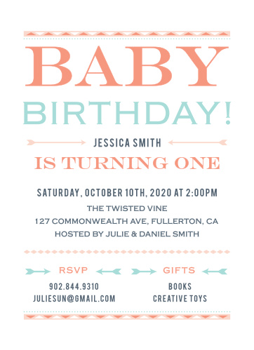 Celebrate your free-spirited baby with the Wild Child First Birthday Invitations.